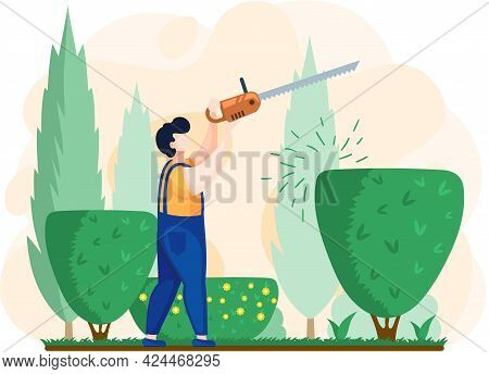 Gardener Works In Garden Cartoon Worker With Saw Agricultural Worker. Landscaper Male Character Trim