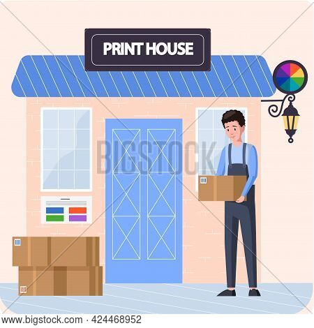 Typography Workflow Concept. Courier Transporting Equipment For Printers, Inks, Paints. Employee Of