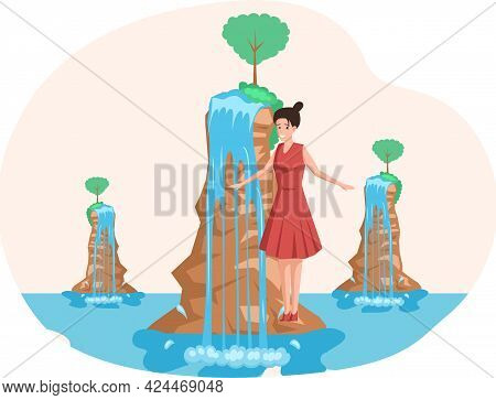 Waterfall In Mountaines Natural Landscape In Park. Female Traveler Enjoys Beautiful Nature And Rocks
