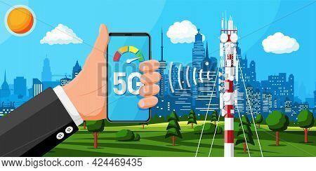 Transmission Cellular Tower Antenna Landscape. Network Broadcast Equipment Smartphone. Broadcasting,