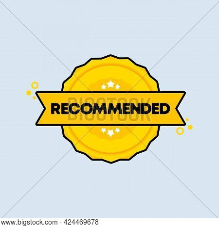 Recommended Badge. Vector. Recommended Stamp Icon. Certified Badge Logo. Stamp Template. Label, Stic