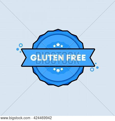 Gluten Free Badge. Vector. Gluten Free Stamp Icon. Certified Badge Logo. Stamp Template. Label, Stic