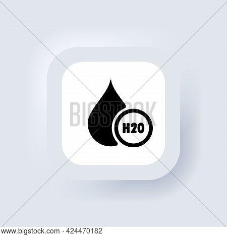 H2o Icon. Chemical Formula H2o. Water Drop Icons Logo. Neumorphic Ui Ux White User Interface Web But