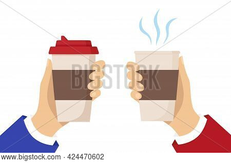 Two Human Hands Hold Cups Of Hot Drink. Disposable Coffee Paper Cup With The Steam. Coffee To Go Con