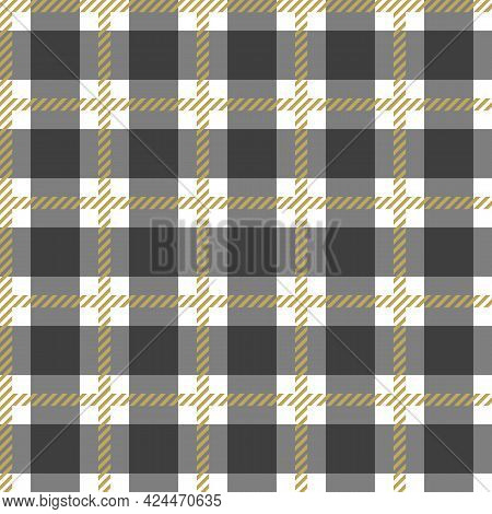Seamless Gold And White Tablecloth Pattern. Texture From For Clothes, Shirts And Blankets. Scottish