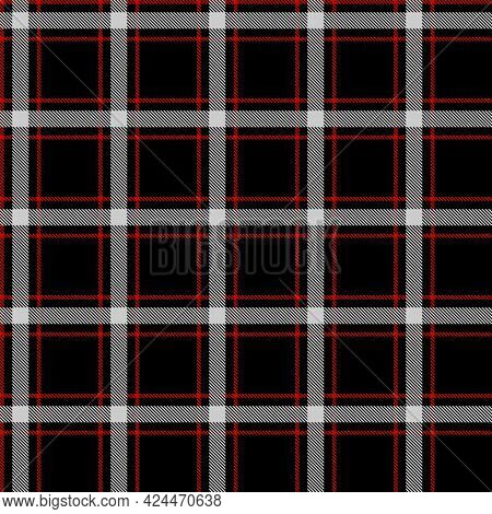 Seamless Red And Black Tablecloth Pattern. Texture From For Clothes, Shirts And Blankets. Scottish T