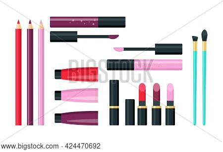 Make Up Lipstick Cosmetic Set. Lip Products And Accessories, Lip Liners, Gloss, Brushes And Lipstick