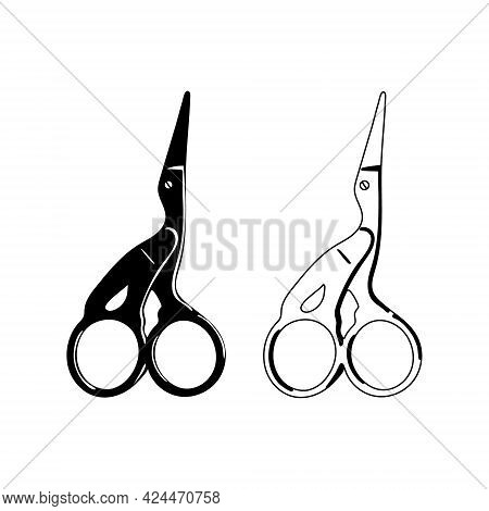 Tailor And Embroidery Scissors. Crane Small Scissors Isolated On White Background. Vector Silhouette