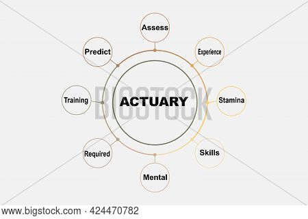 Diagram Concept With Actuary Text And Keywords. Eps 10 Isolated On White Background