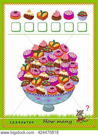 Math Education For Children. Count The Quantity Of Sweets And Write The Numbers. Developing Counting