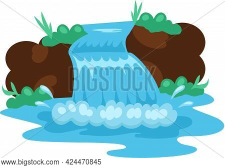 Cartoon Illustration Of Rock And Falling Water, Tropical River And Waterfall. Beautiful Waterfall In