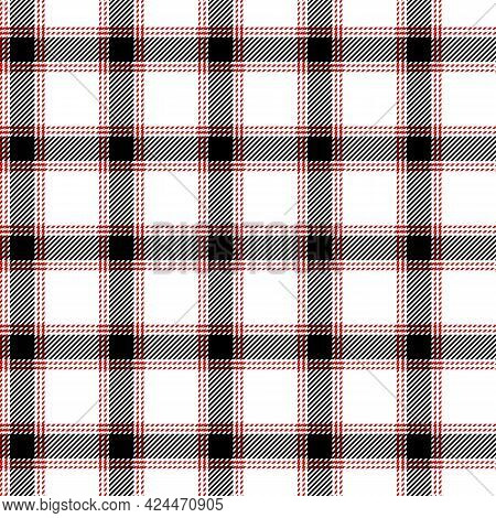 Seamless Red And White Tablecloth Pattern. Texture From For Clothes, Shirts And Blankets. Scottish T