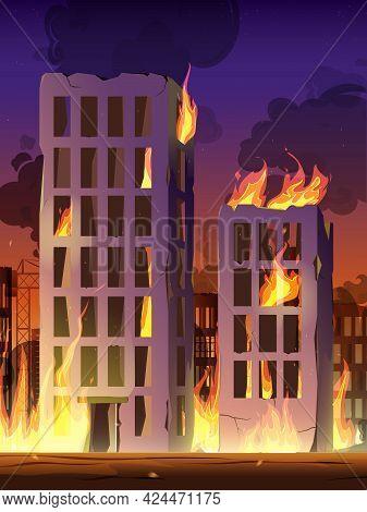 Destroyed City On Fire, War Destroy Burning Broken Buildings.