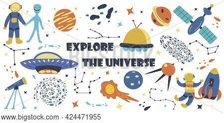 Set Of Elements Explore The Universe. Hand Drawn Vector Colorful Isolated Illustration. Flying Meteo