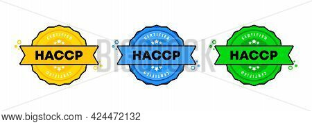 Haccp Stamp Set. Vector. Haccp Badge Icon. Certified Badge Logo. Stamp Template. Label, Sticker, Ico