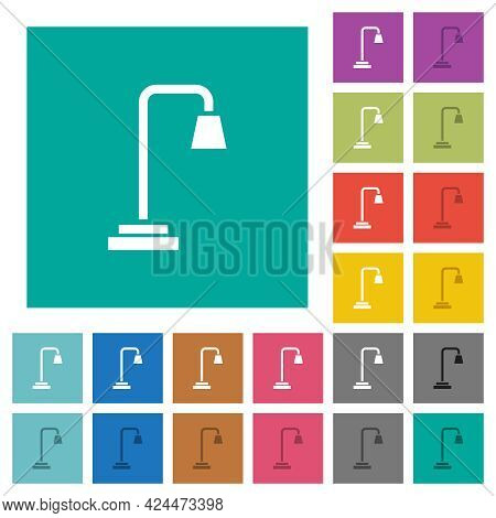 Street Lamp Multi Colored Flat Icons On Plain Square Backgrounds. Included White And Darker Icon Var