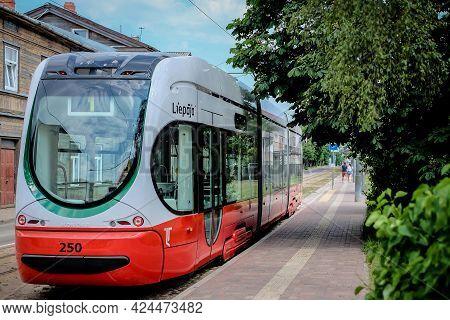 Liepaja, Latvia - June 22, 2021: New Tram On Streets Of Liepaja, Latvia