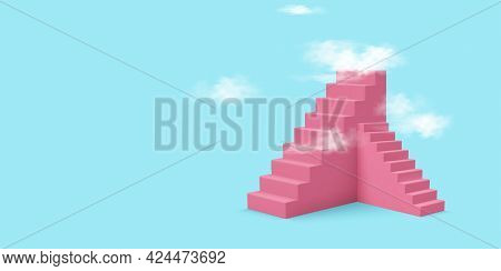 Ladder To The Cloud. Vector Editable Template