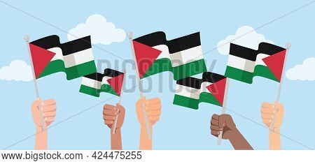 People Holding National Palestine Flags.  Palestine Happy Independence Day. Freedom For Palestine. V