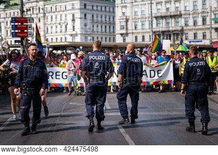 Vienna, Austria - June 19, 2021: Police At Vienna Pride On Wiener Ringstrasse