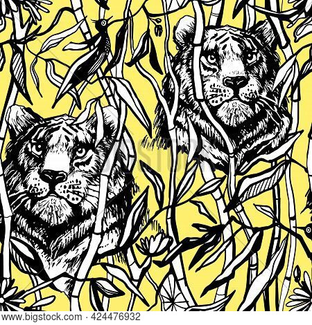 Tiger And Lion Seamless Pattern. Exotic Jungle Yellow Background With Drawn Tropical Bamboo Leaves A