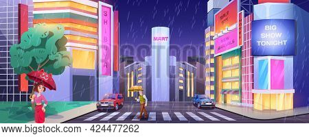Rain In Night City. Pedestrians With Umbrellas Crossing Road. People At Crosswalk With Cars. Cartoon