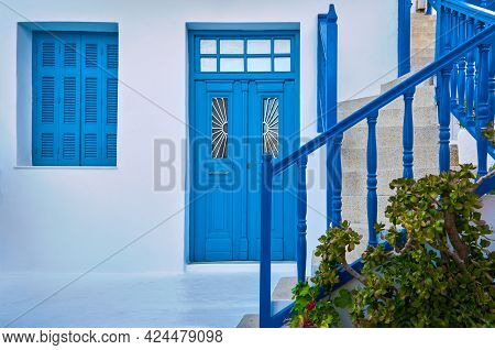 Traditional Greek Porch, Whitewashed Walls, Blue Shutters, Doorway And Doors, Banisters Of Street St