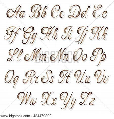 The English Alphabet In Gold Color.vector Illustration With Gold Color English Alphabet And Decorati