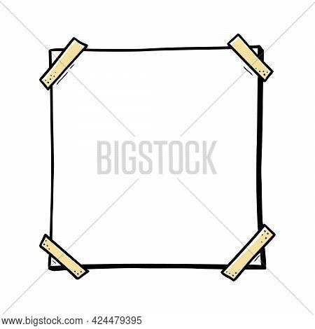 Hand Drawn Paper Sticker, Photo Frame, Picture Border. Doodle Sketch Style. Frame Of Square Shape. V