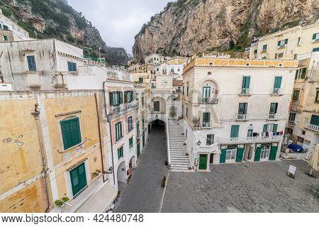 Atrani, Amalfi Coast, Campania, Italy, February 2020: View Of The Main Square Of Atrani, The Smalles