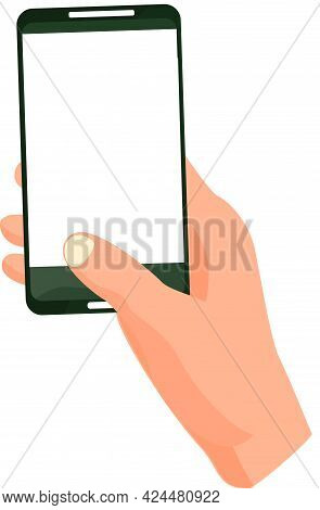 Hand Holding Black Smartphone Touching Screen. Flat Vector Illustration Phone With Blank Screen. Sma