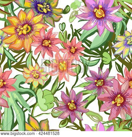 Tropic Exotic Flowers Seamless Pattern. Passiflora, Orchid, Plumeria. Isolated In White Background W
