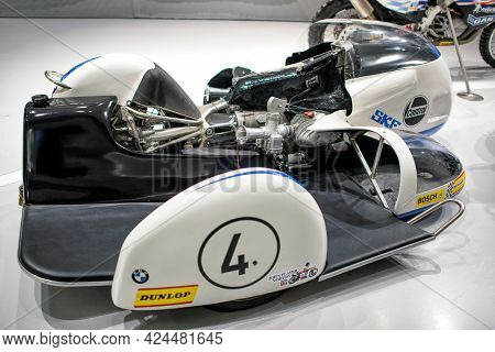 Munich, Germany - September 14, 2018: A Sidecar Bmw Rs 500 Motorbike In Bmw Museum.