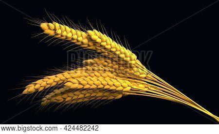 Golden Wheat Bunch, Rural Crop Isolated. Digital Nature 3d Rendering