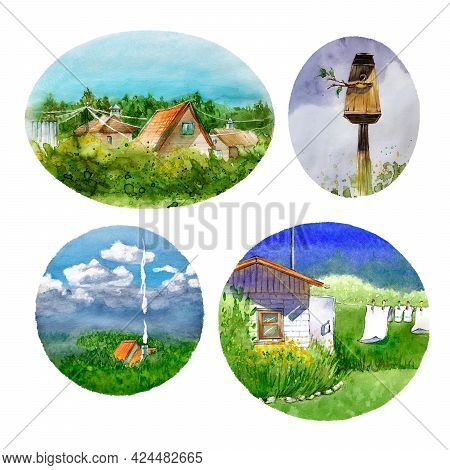 Collage Of Summer,country Illustrations,roofs Of Houses,tops Of The Forest,birdhouse,linen On A Rope