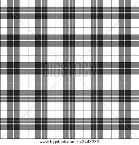 White and Black Plaid textured Fabric Background that is seamless and repeats poster