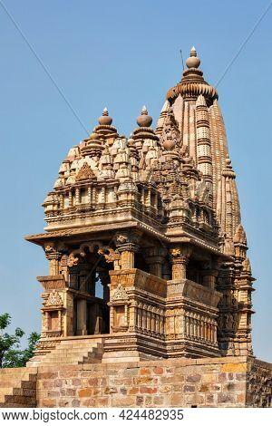 Javari Temple - one of famous tourist attractions of Khajuraho with sculptures. India, Khajuraho, Madhya Pradesh, India, Khajuraho, Madhya Pradesh, India