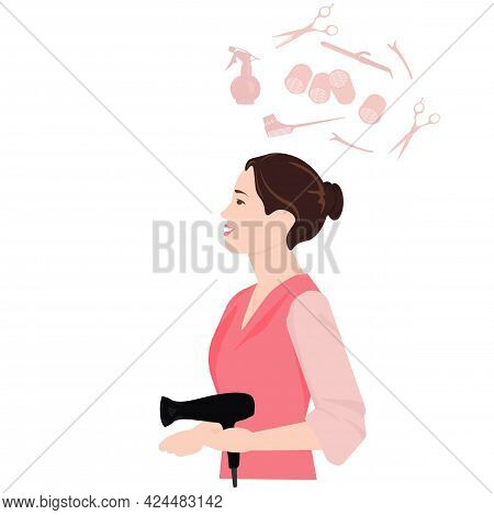 Barber Vector Stock Illustration. Stylist In Hand Hair Dryer. Scissors, Curlers, And Hair Cutting To