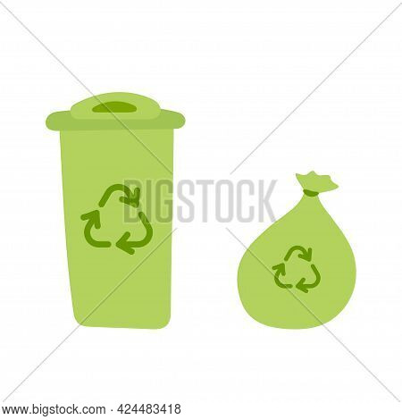 Dumpster And Garbage Bag. Trash Can With Recycle Sign. Green Recycling Bin Bucket For Trash. Environ