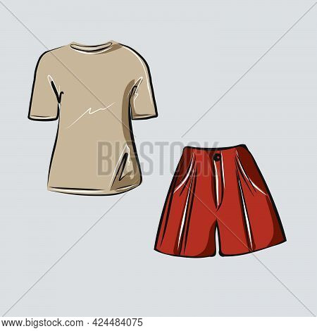 Clothes, Fashionable Wardrobe For The Summer. Shorts And Top, T-shirt, Blouse. Clothing Store. Isola