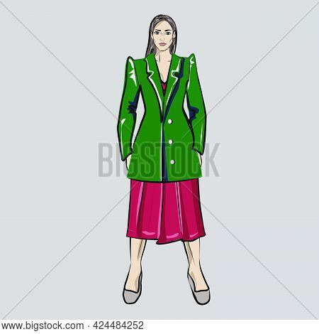 Girl, Doll With A Set Of Clothes. Jacket And Dress. Capsule Basic Wardrobe For A Woman. Minimalism.