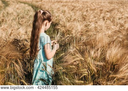 Happy Childhood Without Gadgets, Summer Outdoors, Freedom. A Cute Long-haired Girl In A Dress Stands