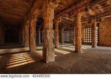 Pillared hall in Airavatesvara Temple, Darasuram, Tamil Nadu, India. One of Great Living Chola Temples - UNESCO World Heritage Site