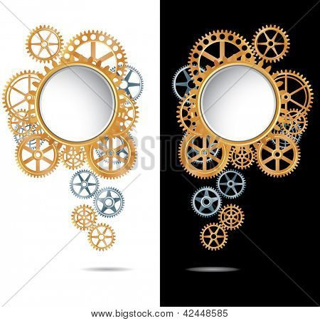 vector abstract composition with silver and golden gears on white and black backgrounds
