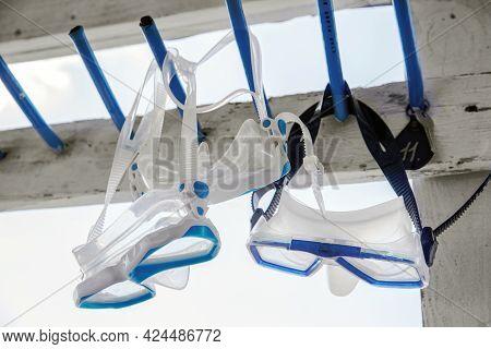 Diving Mask Hanging On A Hanger. Mask For Scuba Diving. Diving