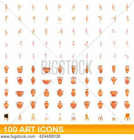 100 Art Icons Set. Cartoon Illustration Of 100 Art Icons Vector Set Isolated On White Background