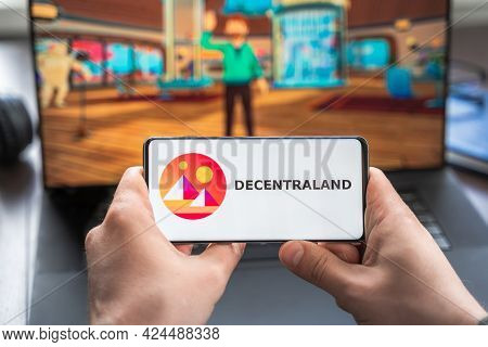 Russia Moscow 30.05.2021.logo,screenshot Of Blockchain Nft Ethereum Cryptocurrency Game Decentraland