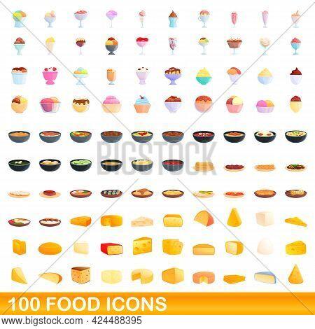 100 Food Icons Set. Cartoon Illustration Of 100 Food Icons Vector Set Isolated On White Background