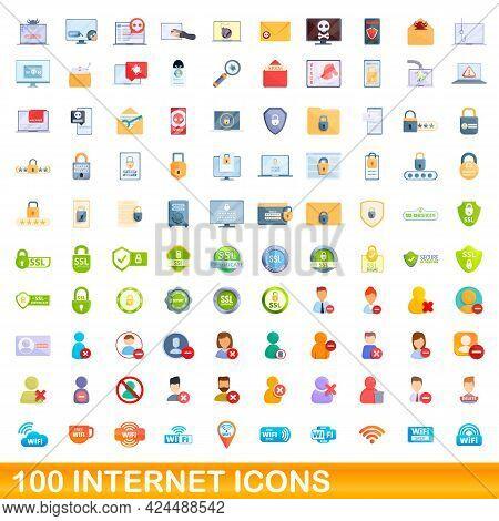 100 Internet Icons Set. Cartoon Illustration Of 100 Internet Icons Vector Set Isolated On White Back