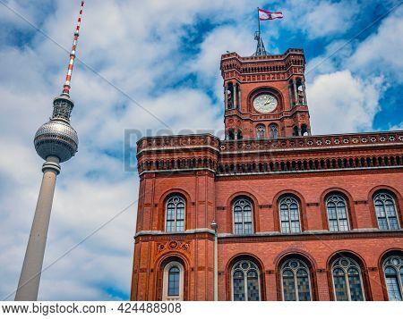 Berlin, Germany - 13  june 2021: Berlin TV Tower, Fernsehturm, Germany